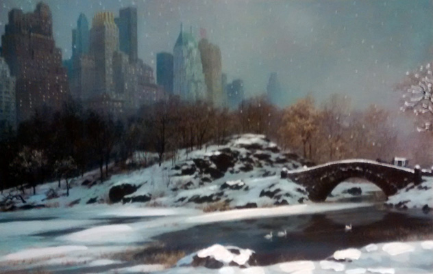 Central Park Bridge Winter, New York Embellished