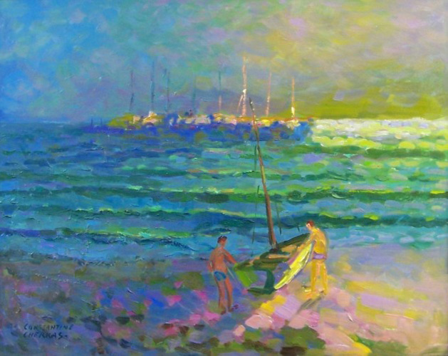 Newport Beach Twilight, california 2004 33x39 by Constantine Cherkas