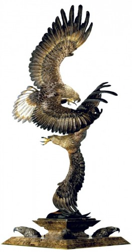 Conflict of the Golden Eagles Bronze Sculpture 1988 60 in