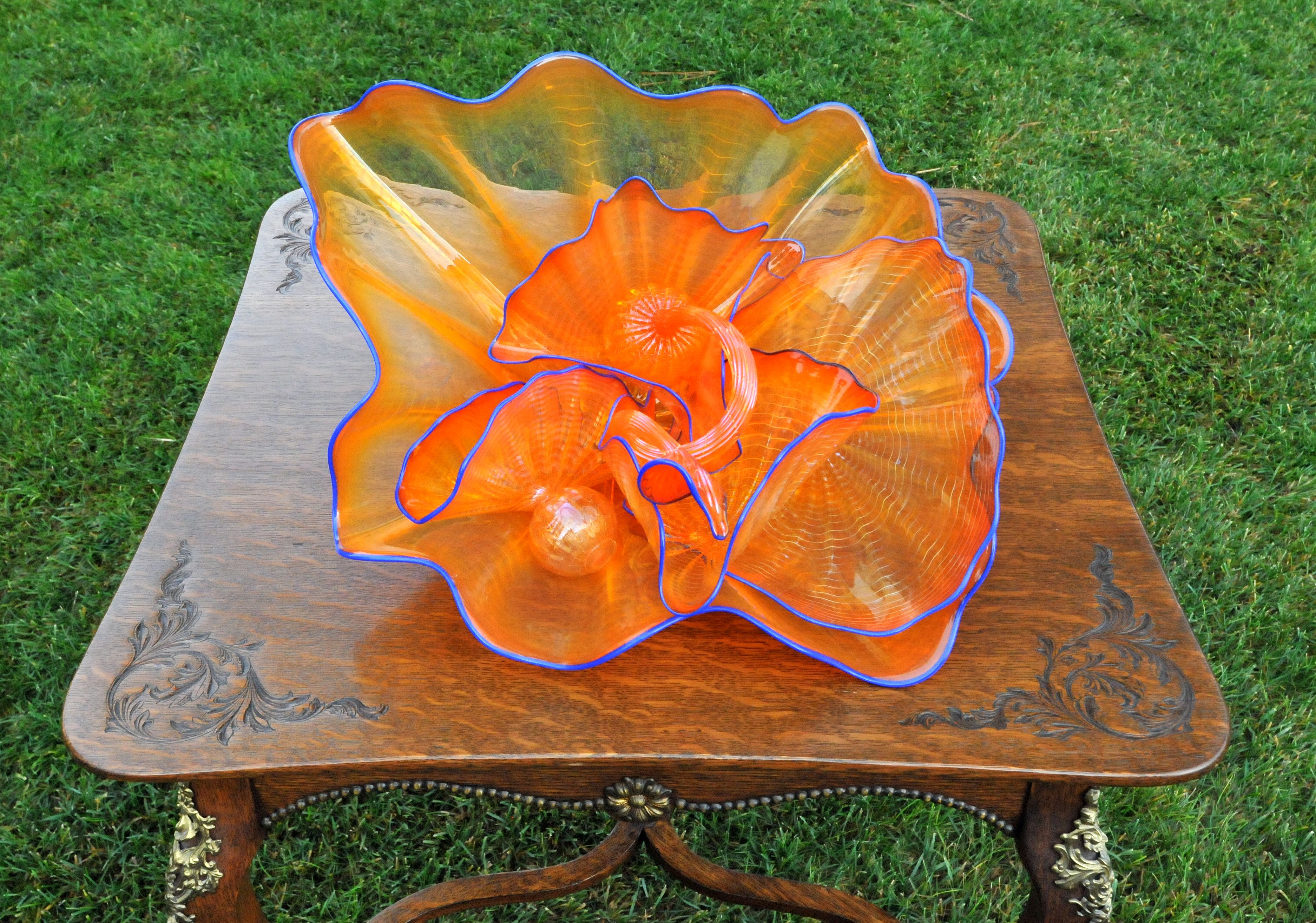 Seashell Orange 6 pc Persian Set with Indigo Lip Wraps Glass Sculpture 2002