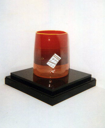 Red Blanket Cylinder Glass Sculpture 2000