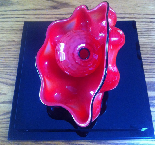 Chinese Red Seaform Pair Glass Sculpture, 2 Piece Set 1995
