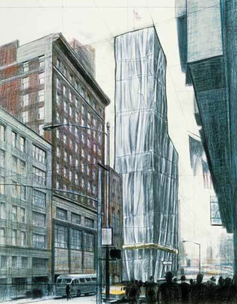 Wrapped Buildings For Time Square 2003 New York by Javacheff   Christo