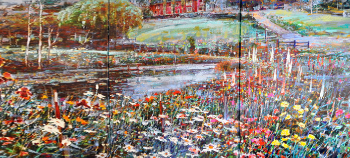 Nature's Symphony Triptych 1995  Embellished 40x90