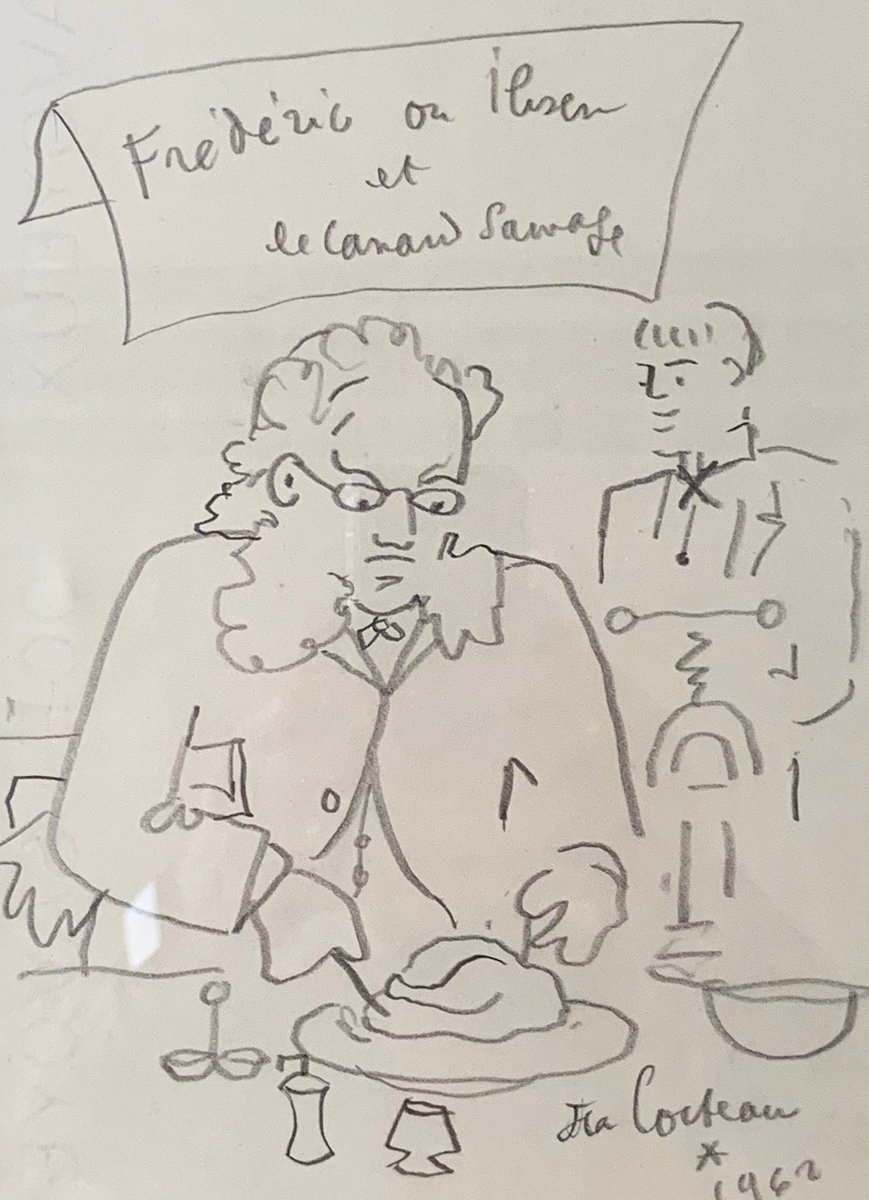 Frederic Ou Ibsen Et Le Canard Sauvage Drawing 1962 10x8