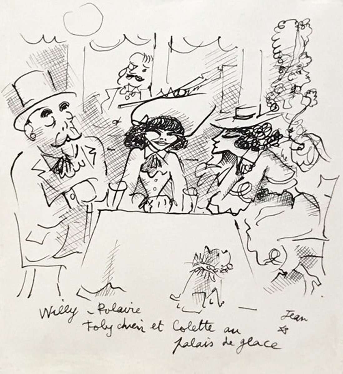 Willy, Polaire, Toby Chien Et Colette Au Palace De Glace Drawing 1935 10x8