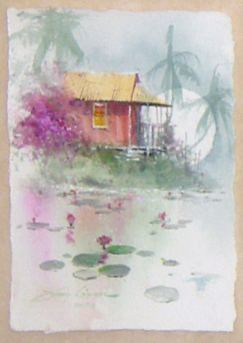 Under the Stone Bridge / A Tropical Pond set of 2 Watercolors 2006