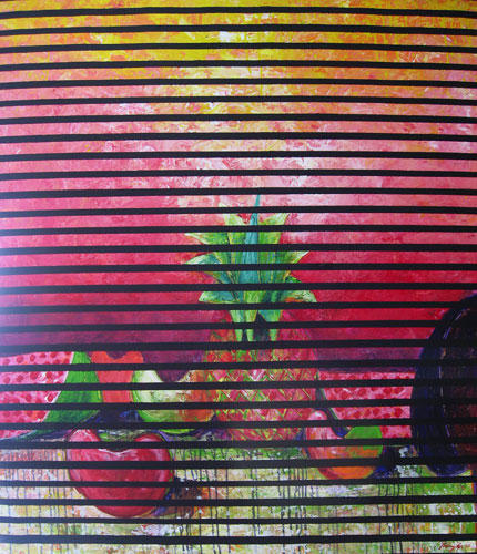 Pineapple Fruit Acrylic with Linen 1992