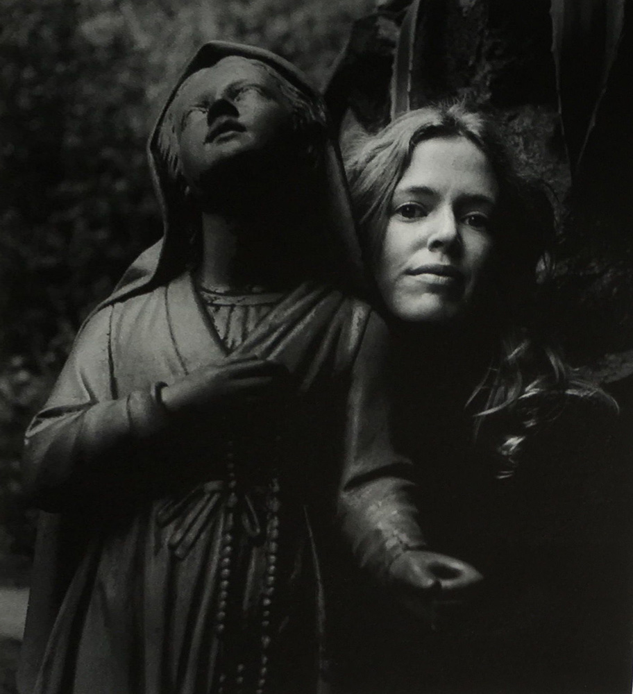 Untitled (Girl Posing With Statue St Bernadette) 1973