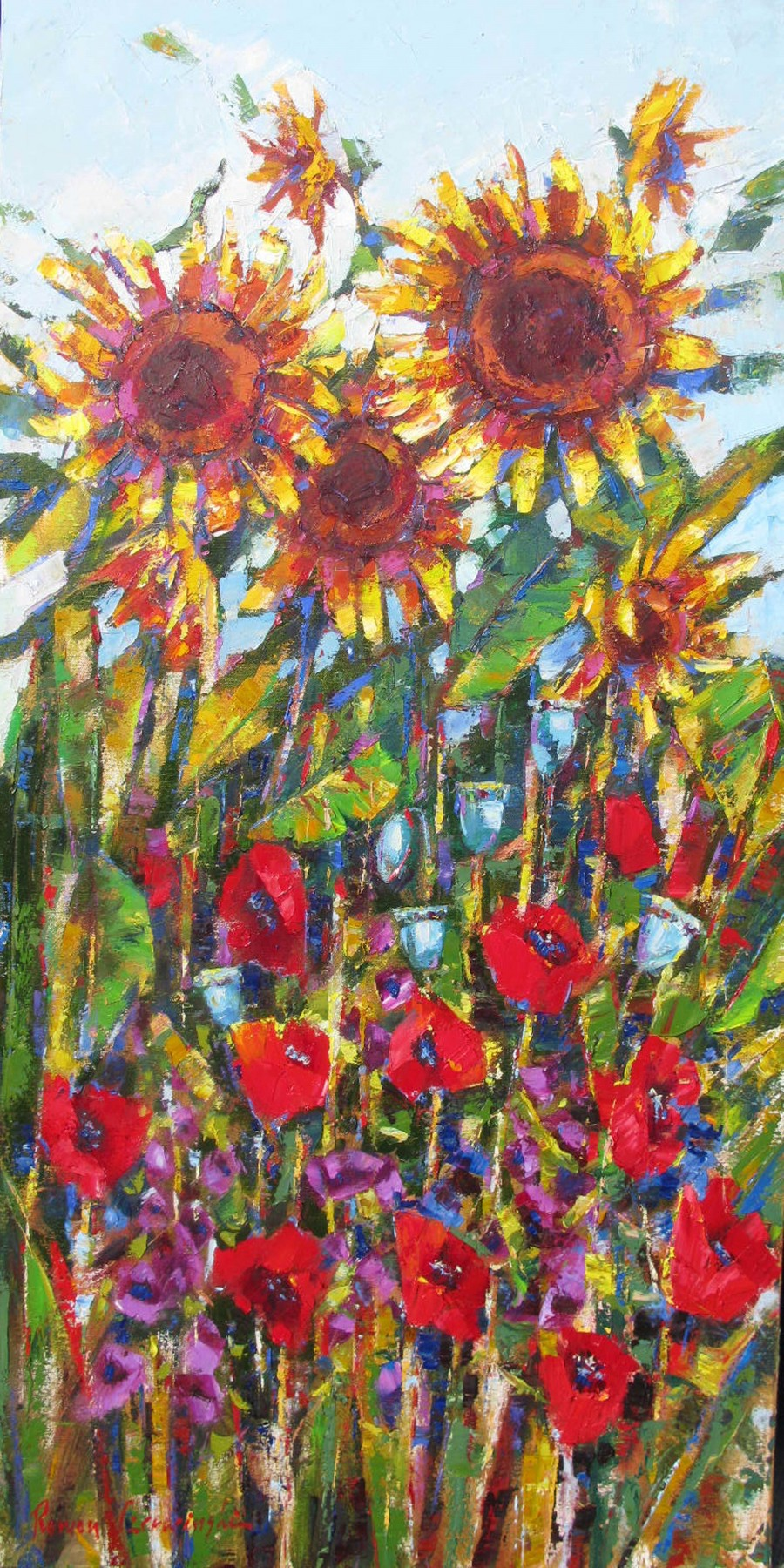 Sunflowers And Poppies 2011 48x24