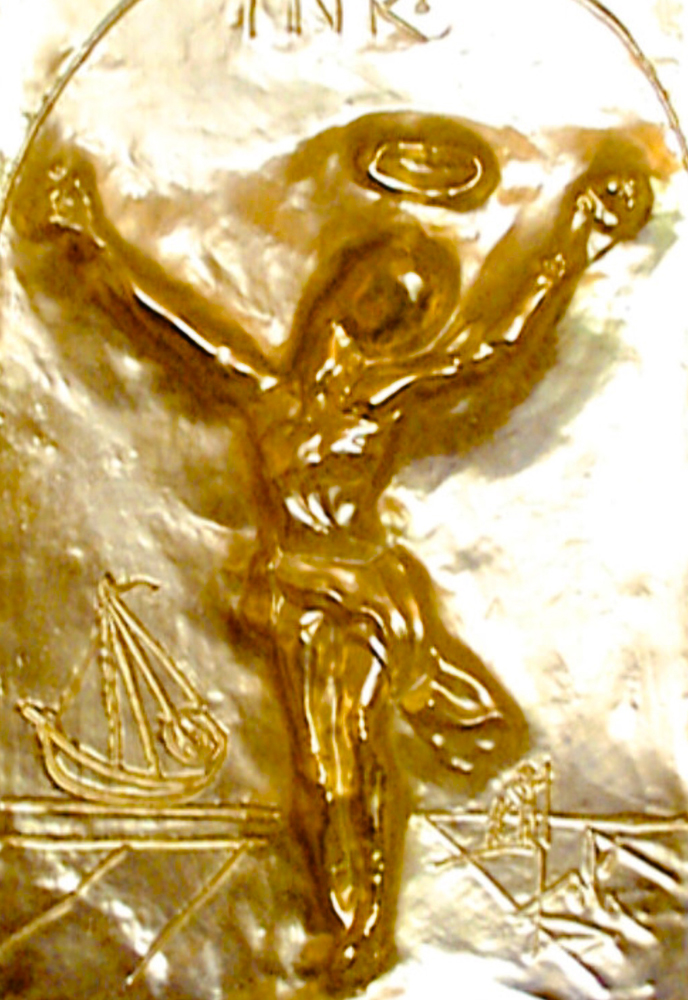 Christ St. John of the Cross Bas Relief Bronze Sculpture 1975 by Salvador Dali