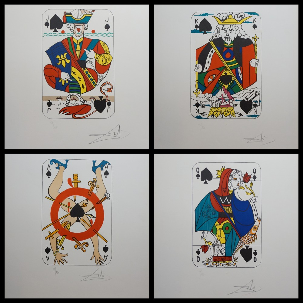 Playing Cards Joker, Queen, King And Ace of Spades 1972