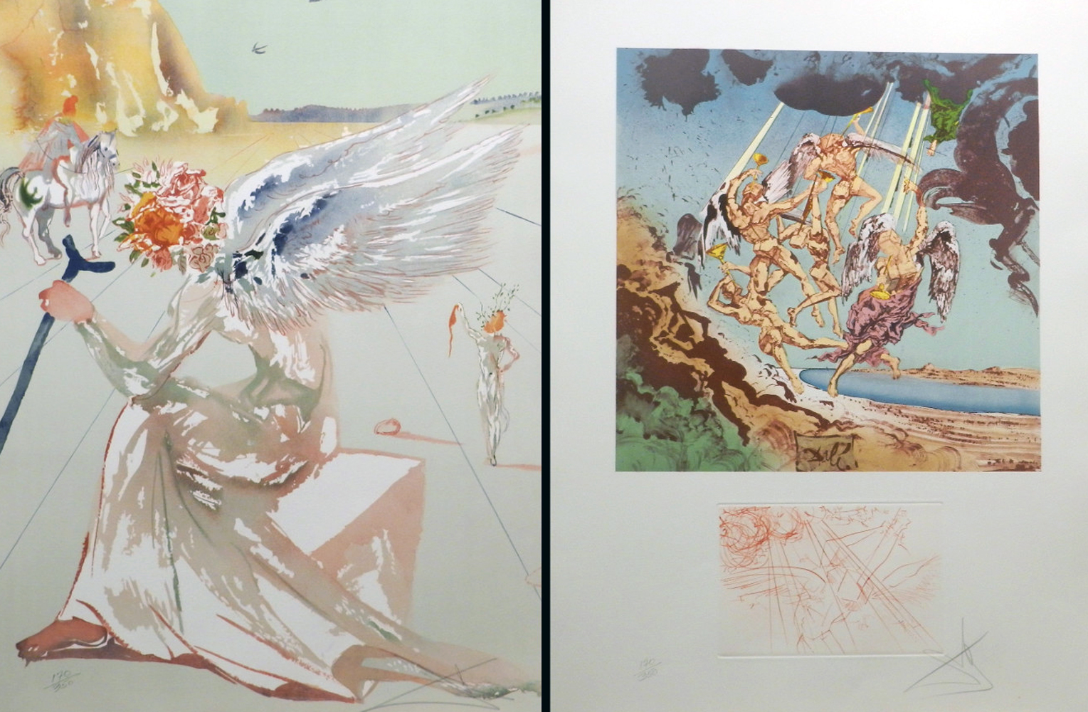 Homage a Homere Suite of 2 Etchings (Helen of Troy, Return of Ulysses) 1971 by Salvador Dali