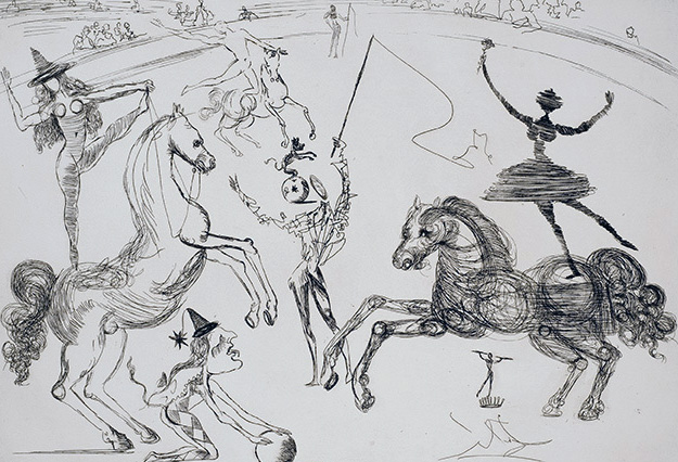 Le Cirque (The Circle) Suite of 6 Gravures 1965 by Salvador Dali