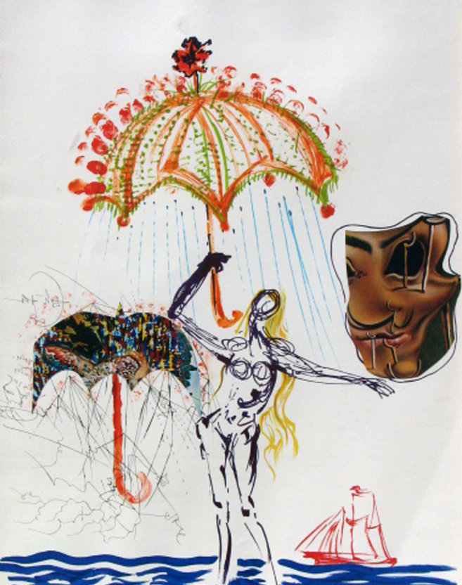 Anti-umbrella With Atomized Liquid, From Imaginations And Objects of the Future 1975 by Salvador Dali
