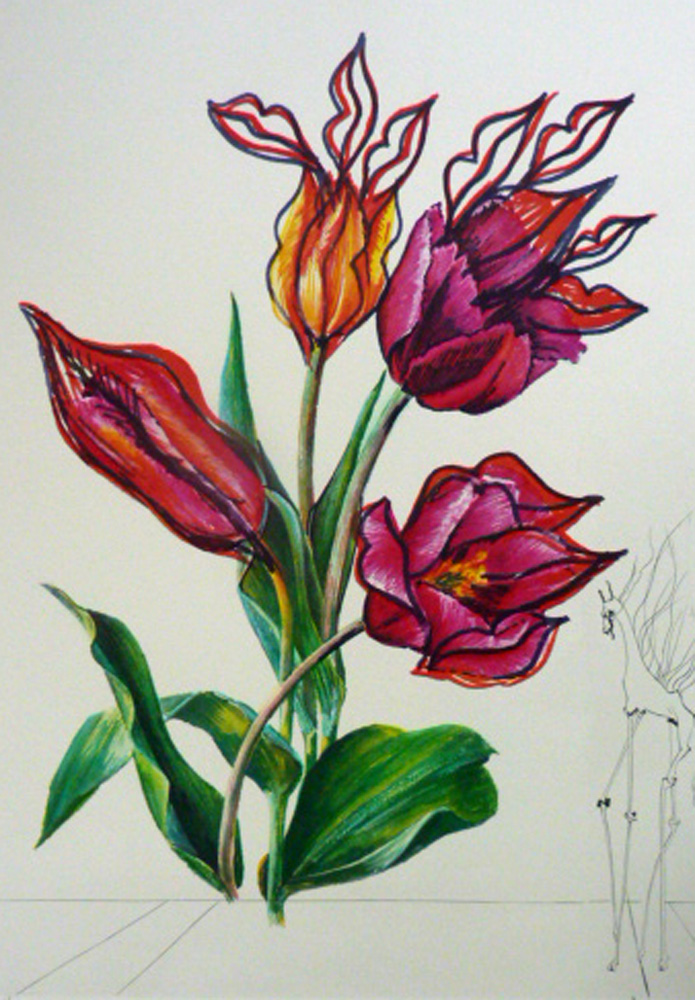 Tulips, Lips Giraffe En Feu From Florals Suite  1972