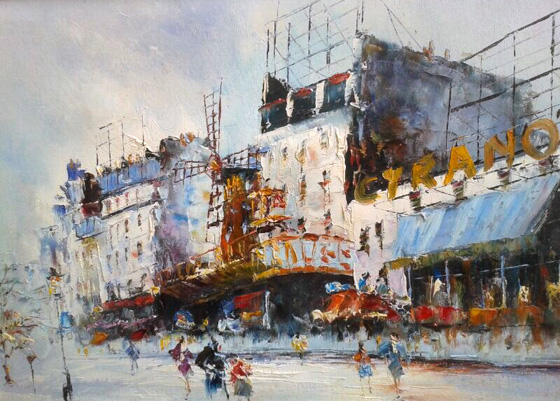 Parisian Street Scene of the Moulin  Rouge 16x20