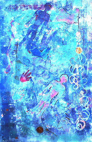 Mirage in Blue Monoprint 50x38