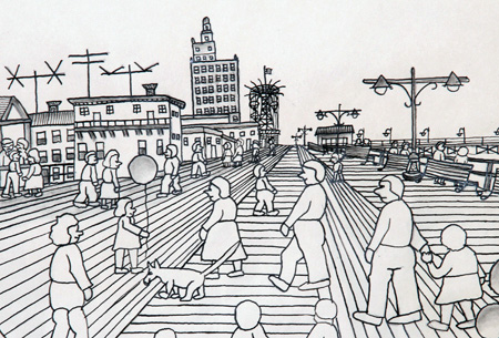 Coney Island, New York Drawing 1969 by Vestie Davis