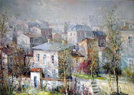 Les Toites De Montemarte (the Rooftops of Montmarte) 38x60