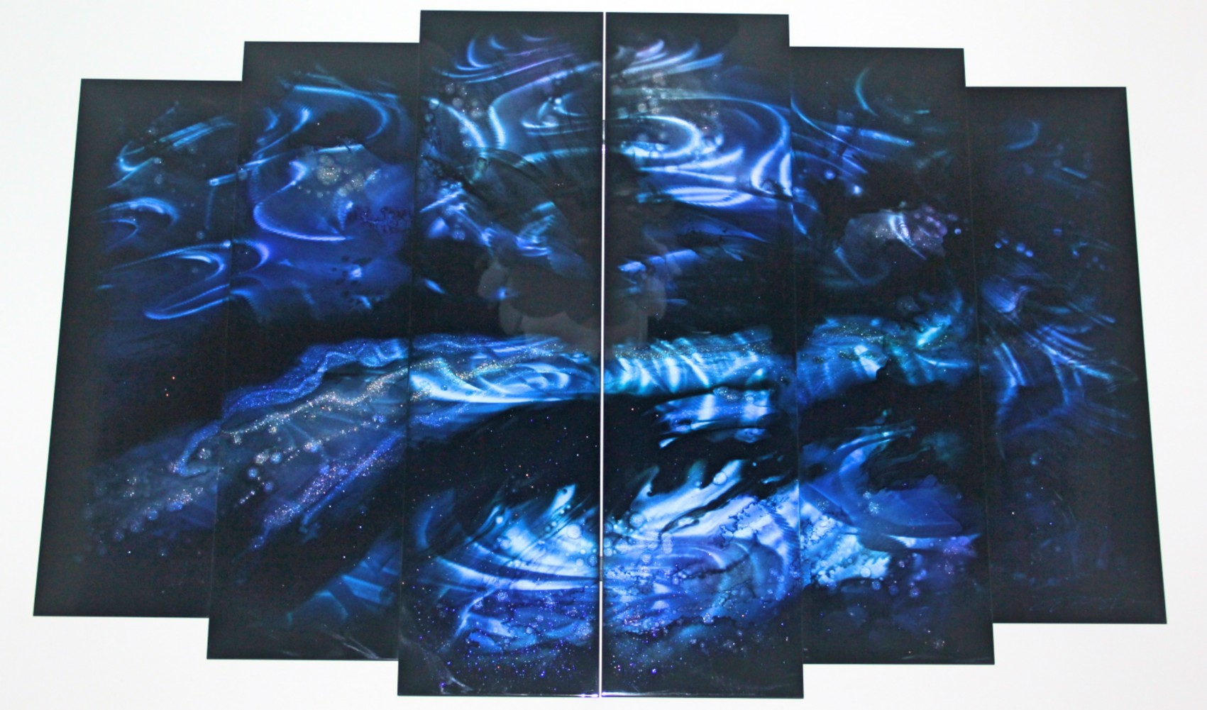 6-panel Abstract - Variation 3 (Blue) 2012 44x72
