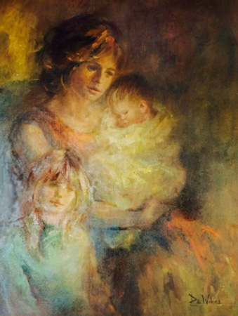 Untitled Woman and Children 1975 by Lisette De Winne