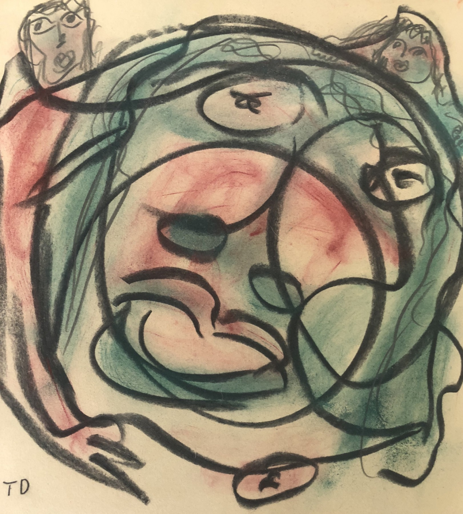 Abstract Face Pastel 1980 13x13
