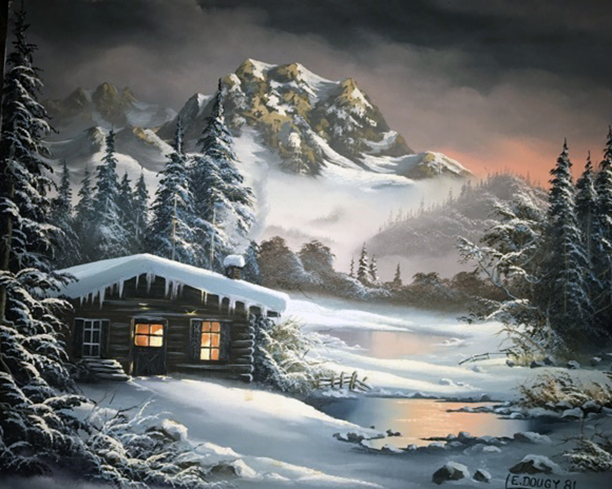 Mountain Cabin Dusk  1981 20x16
