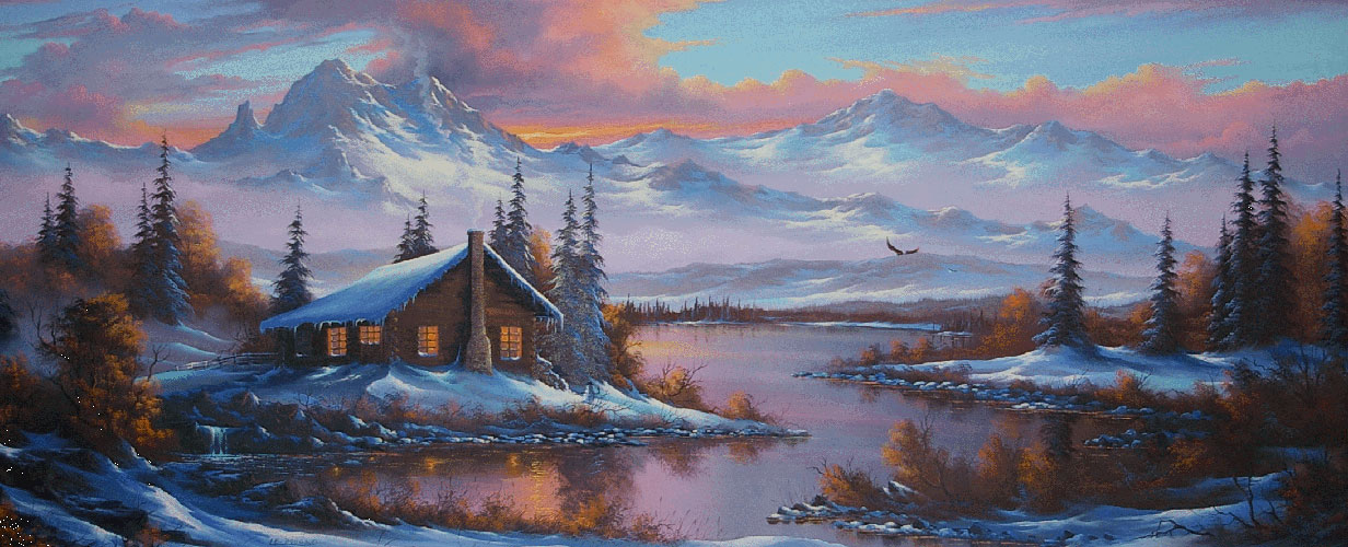 Untitled Winter Mountain Cabin 1997 31x81