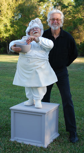 Singing Chef Life Size Sculpture 2009