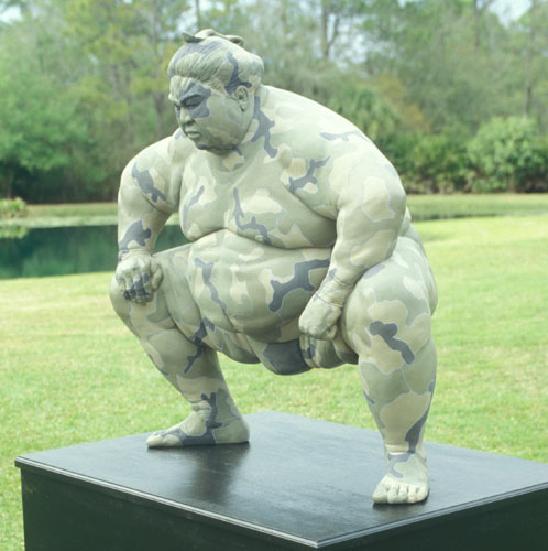 Camo Sumo Resin Sculpture