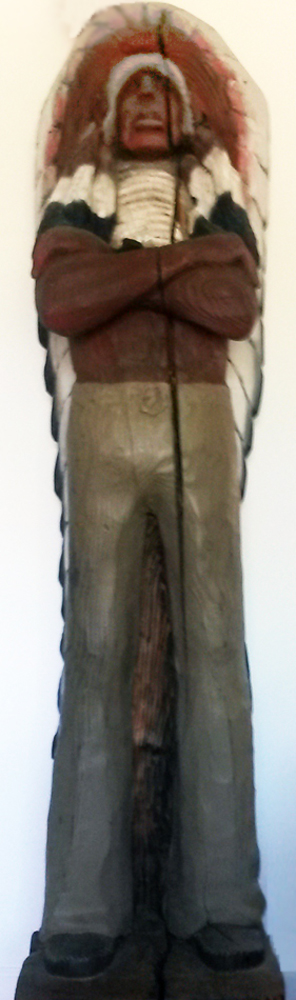 Chief Cigar Store Wooden Indian Sculpture 1977 84 in Tall