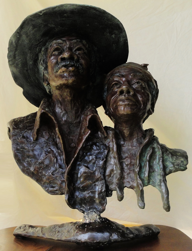 Dirt Farmers Bronze Sculpture 22 in