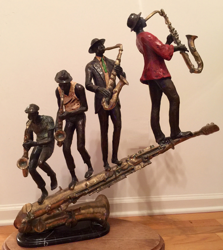 Everything You Wanted to Know About Sax But Were Afraid to Ask Bronze Sculpture 1991 by Ed Dwight
