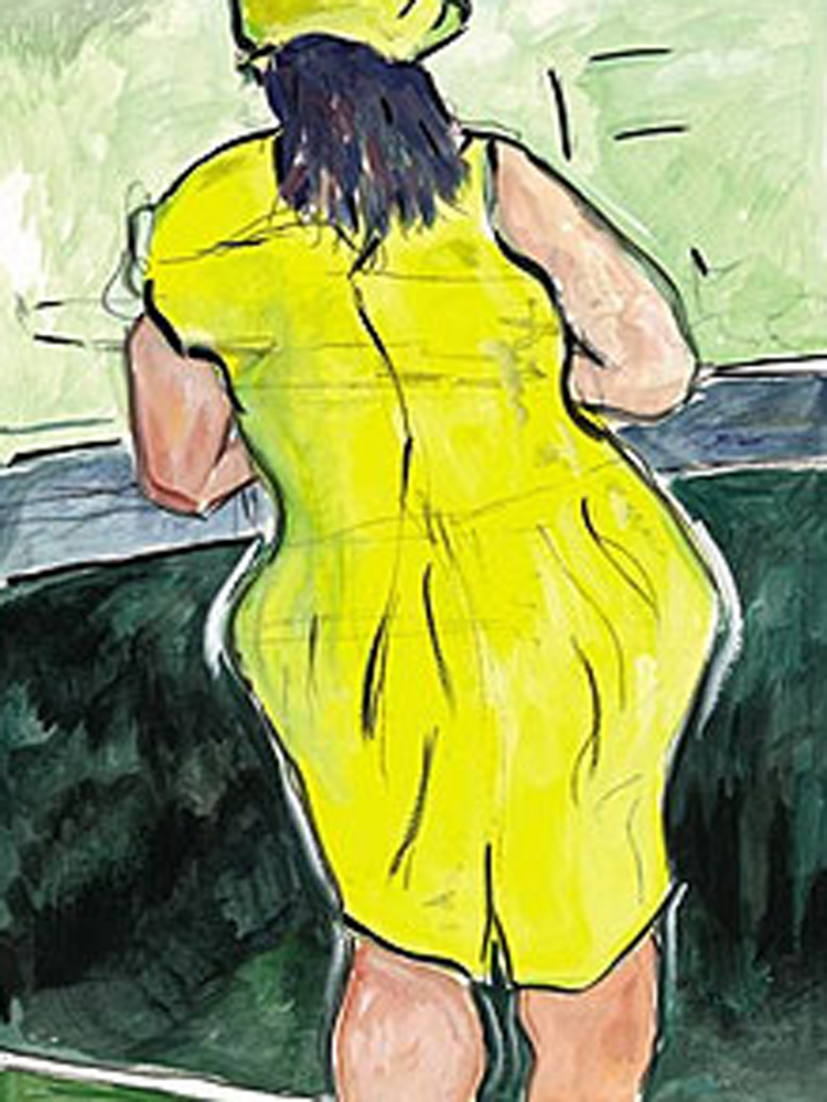 Drawn Blank Series: Woman in Red Lion Pub 2011