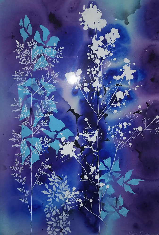 Blue And Purple Floral Watercolor 1990 38x30