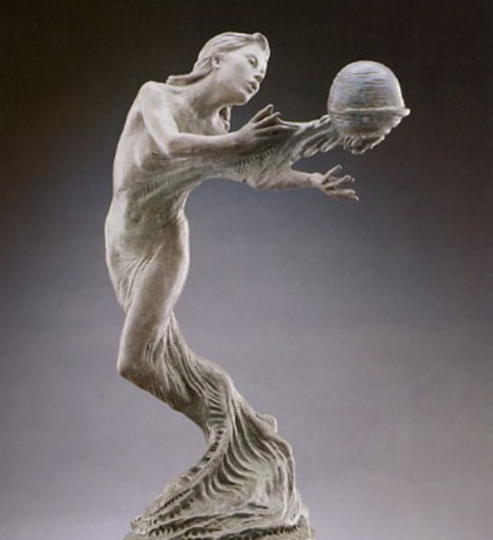 Gaia's Breath Bronze Sculpture 1995 28x14