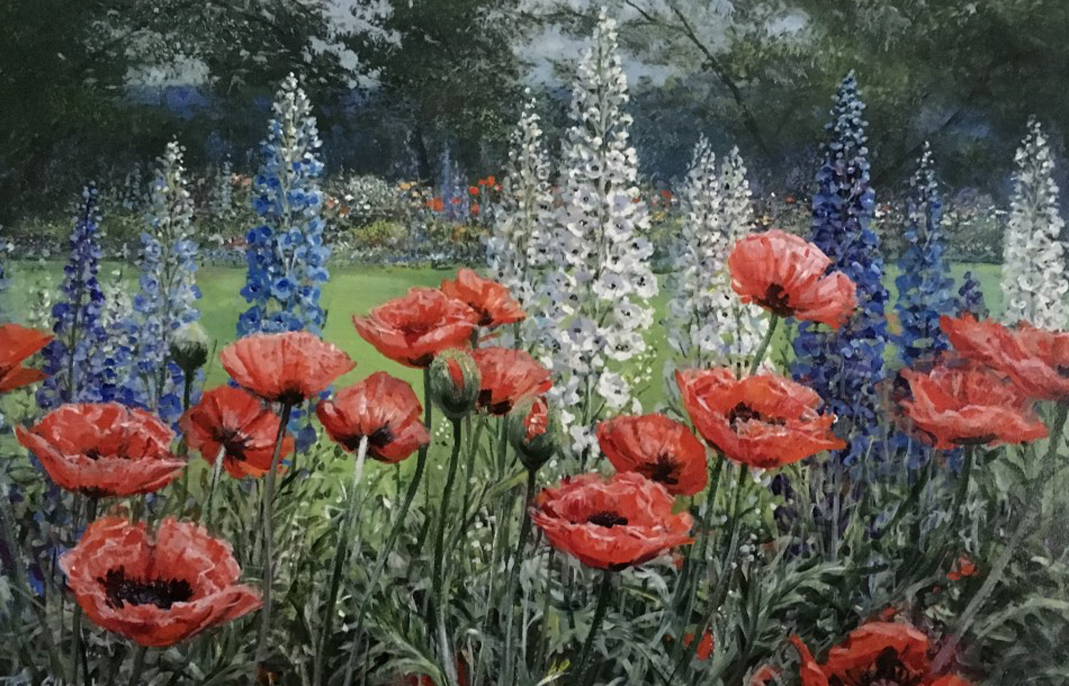 Poppies and Delphiniums 32x44