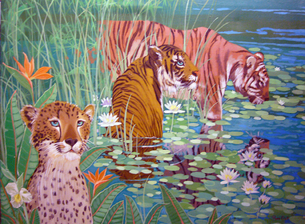 Wading Tigers 1982 30x40
