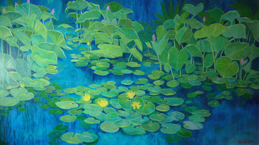 Blue Lilly Pond 36x60