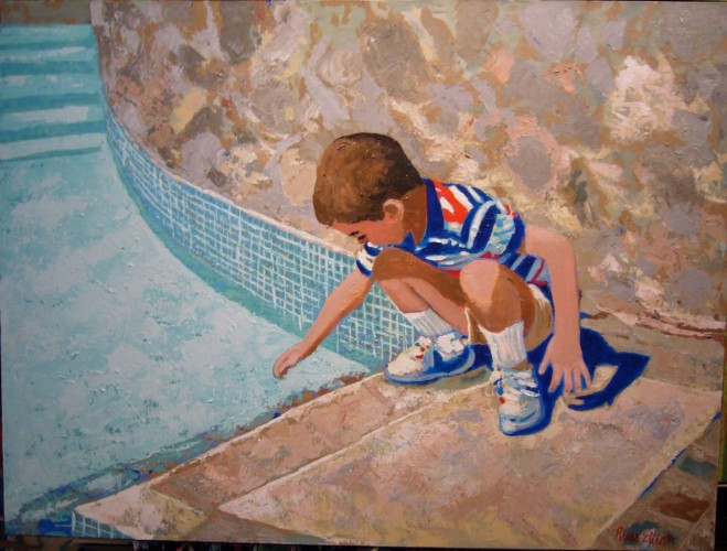 Young Boy At Pool 1995 24x30