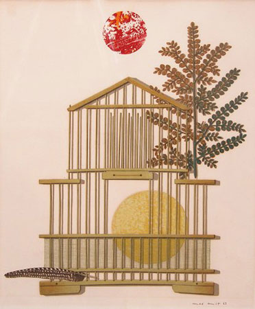 Bird Cage, Feather, Branch and Sun 1963