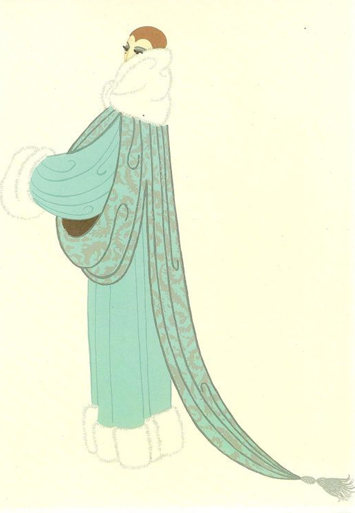 Elegant Lady Wearing Duck Egg Blue Evening Coat AP 1975