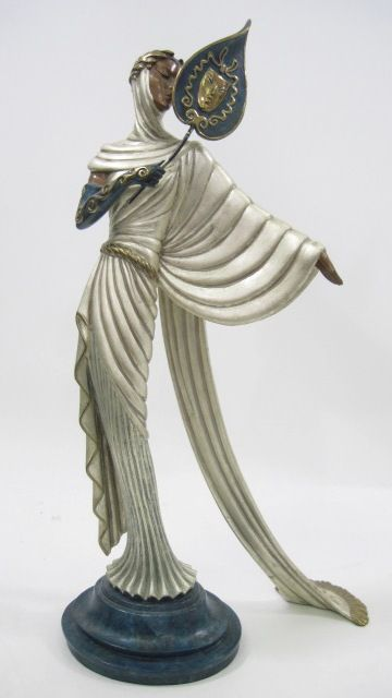 Tanagra Bronze Sculpture 1988 21 in