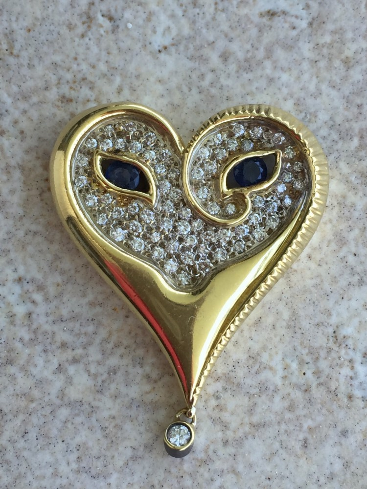 Mystery of the Heart  Gold Pendant 1984