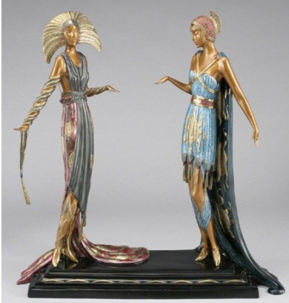 Two Vamps  Bronze Sculpture 1990 19 in