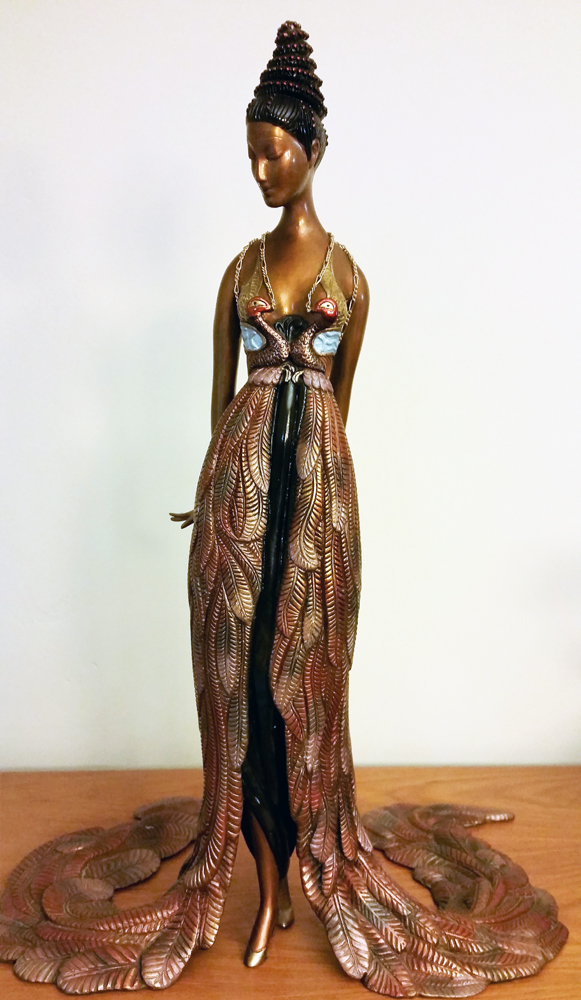 Feather Gown Bronze Sculpture 1990 17 in