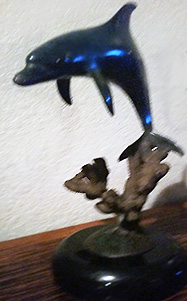Dolphin Bronze Sculpture 1994 18 in