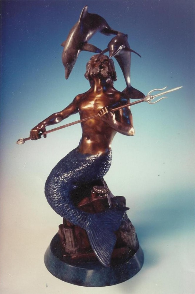 King Neptune Bronze Sculpture 1995 20 in