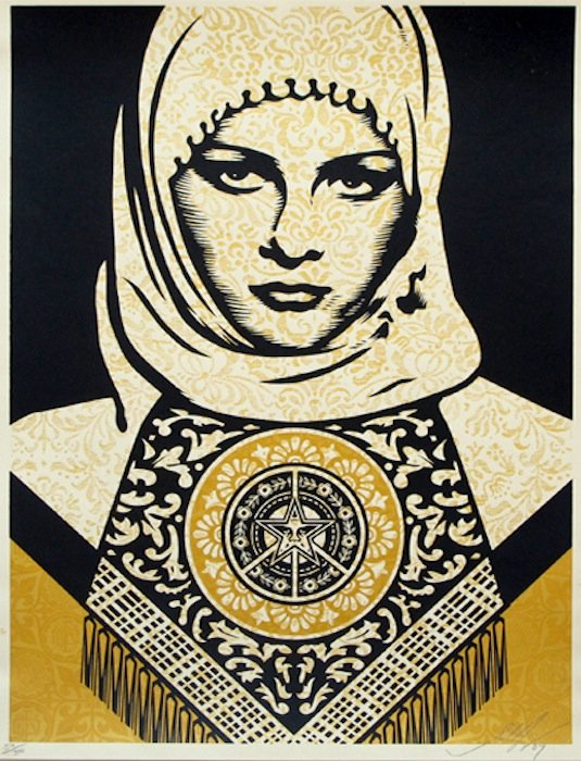 Arab Woman (Gold) 2008 by Shepard Fairey